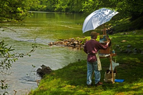 Artists enjoying the Blue Ridge Mountain beauty